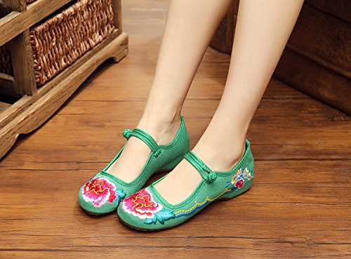 Gxs Étnico Sapatas Únicos Lona Bordados Moda Bem Longa Estilo Sapatos Feminina De Verdes Confortáveis vp8Wpf1I