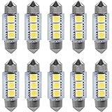 VGEBY 1 Paquet De 10 Ampoules LED Feux De Lecture Éclairage Intérieur Voiture Lampe De Lecture Auto 3 SMD LED 5050 LED Lumière Blanche 36MM