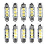 VGEBY 1 Pacchetto 10 LED Luci Di Lampadine Lettura Automobile Interni Luce Lampada Auto Riproduci 3 SMD LED 5050 LED Luce Bianca 36MM