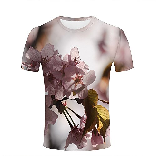 ouzhouxijia Mens 3D Printed Short Sleeve T-Shirts Pink Apple Blossoms Graphics Casual Couple Tees XXL