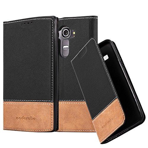 Cadorabo Hülle für LG G4 - Hülle in SCHWARZ BRAUN – Handyhülle mit Standfunktion und Kartenfach aus Einer Kunstlederkombi - Case Cover Schutzhülle Etui Tasche Book