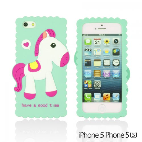 OnlineBestDigital - Horse Style 3D Soft Silicone Case / Housse pour Apple iPhone 5S / Apple iPhone 5 - rose Bleu Clair