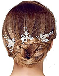 PICCOLI MONELLI Forcine capelli sposa perle e fiore strass ferretti per  capelli sposa fermagli accessori acconciature capelli matrimonio damigella… 5b40eb89fc17