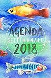 Agenda Settimanale 2018 blu acqua: Weekly Planner in italiano del 2018, da borsa, 12 mesi, 52 settimane