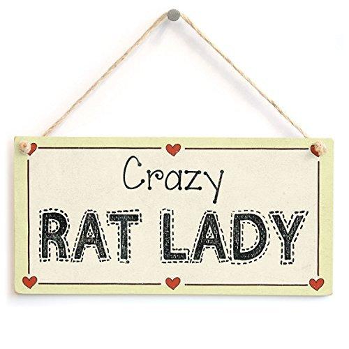 Deko Schilder mit Sprüchen Crazy Rat Lady Ratten Lover für Ratten Eigentümer Wandschild aus Holz Welcome Schild rustikal