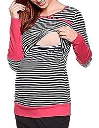 AILIENT Mujeres Sudaderas Camiseta Manga Largo Slim Tops Blusas Rayas Sueter Embarazadas Lactancia Jersey Casuales
