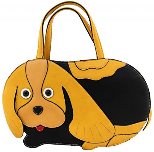 Kukubird Animal Dog Shape Faux Leather Handbag MUSTARD