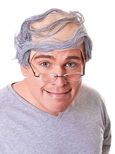 Halbglatze mit grauem Haar Opa Glatze Alter Mann Perücke Greis Großvater