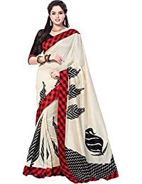 Varibha® White & Red Printed Silk Saree Sari For Women & Girls | Latest New Collection 2028 | Under | Low Price...