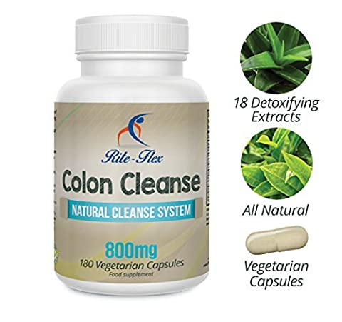 Rite Flex Colon Cleanse, 800mg 180 Vegetarian Capsules (6 Months Supply) with 18 Natural Detoxifying Botanical Extracts in a Proprietary Blend Formula, Supports Healthy Weight