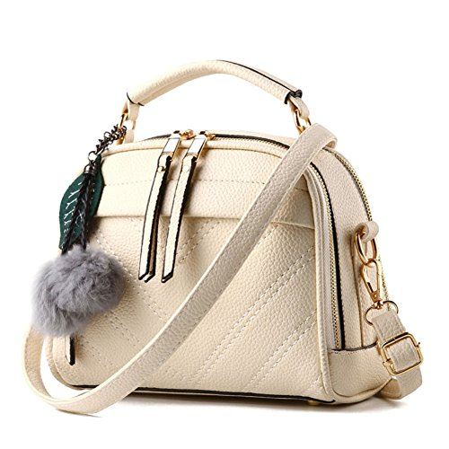Magic Zone , Damen Henkeltasche beige beige (Leder Hobo Jessica Bag)
