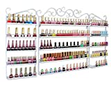 3 in 1 Wall Mounted Metal Salon Nail Polish Display Rack Essential Oils Display Storage Holds More than 200 Bottles White