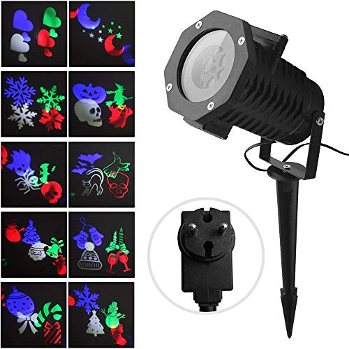 hnachten Fochea Projektor Lichter LED Aussenstrahler Lichteffekt 12 Muster IP65 Wasserdicht Wand Dekoration für Weihnachten Hochzeit Geburtstag Außen Innen Deko mit Fernbedienung ()