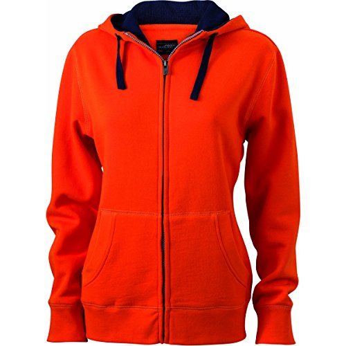JAMES & NICHOLSON Damen Kapuzenpullover, Einfarbig orange foncé