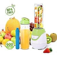 Aigostar Greenberry 30JHU - Frullatore Smoothie Maker, 600W, con 2 bottiglie viaggio in Tritan da 600ml e 1 tubi frigoriferi, Mini Frullatore BPA FREE. Design esclusivo.