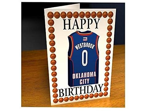 NBA Basketball Jersey Cartes de vœux Thème–Carte d'anniversaire personnalisée–N'importe Quel Nom, n'importe quel Nombre, n'importe quelle équipe., Homme femme Enfant, Oklahoma City Thunder NBA Basketball Greeting Card
