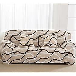 Copridivano a 1/2/3/4 posti elastico, protezione per animali, in tessuto morbido di poliestere con stampa floreale, Wave, 4 Seater:235-300CM
