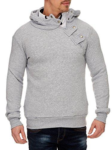 TAZZIO Herren Styler Sweatshirt mit Kapuze Pullover Hoodie 16212 Grau