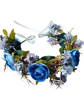 YAZILIND boda de flores de novia corona de Dama de honor rosa floral guirnalda de playa tocado con accesorios...