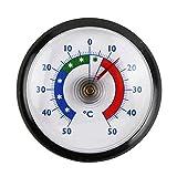 Lantelme 4904 rundes Kühlschrankthermometer Farbe schwarz. Kühlschrank Thermometer zum ankleben. Temperaturanzeige + / - 50°C