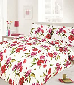 blumen schmetterlinge rosa bettw sche bettbezug 200 x 200 cm 2x kissenbezug 50 x 75 cm. Black Bedroom Furniture Sets. Home Design Ideas
