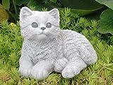 Steinfigur Katze sitzend - Antik-Weiss, Garten, Deko, Stein, Figur, Frostsicher
