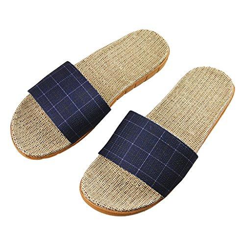 Sandales Antidérapage Tongs Léger Chaussons de Bain en Lin Pantoufles d'intérieur Slippers Maison Chaussures d'été pour Hommes Femmes Taille 44-45