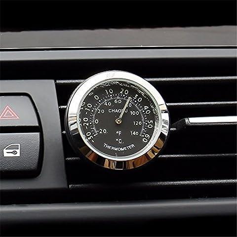 Le thermomètre de voiture/nuit lumière réveil automobile/véhicule/de l'intérieur de formulaires électroniques/horloge/calendrier montres quartz/horloge électronique/de garniture automobile, thermomètre - Noir