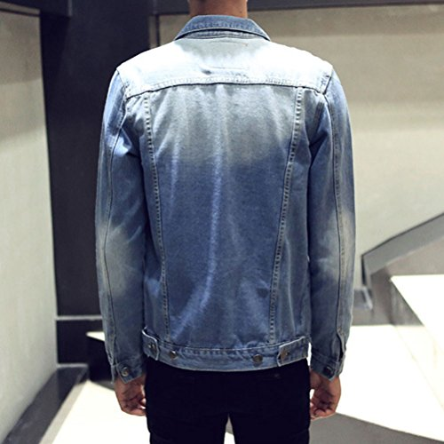 Zhhlaixing Doux confortable Mens Classic with Chest Pockets Big and Tall Denim Coat Jacket Turn Down Collar Size:XL-5XL blue