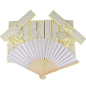 20 pz Ventaglio Pieghevole Bianco Bambu e Tessuto con Scatoline Beige Segnaposto Bomboniere per Nozze Festa Matrimonio