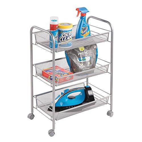 Mdesign scaffale con ruote a 3 scomparti – carrello con ruote per lavanderia e cucina – sostituisce perfettamente gli scaffali per garage o lavanderia – in metallo – argento