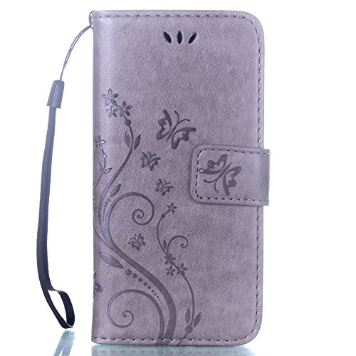 "Multifunktions iPhone 7 Plus Leder Hülle, Folio Flip Case Cover, Blume Gran Muster Serie, Brieftasche Unterstützen Feature, Telefon-Kasten Schutzhülle für Apple iPhone 7 Plus 5.5"" Grau"