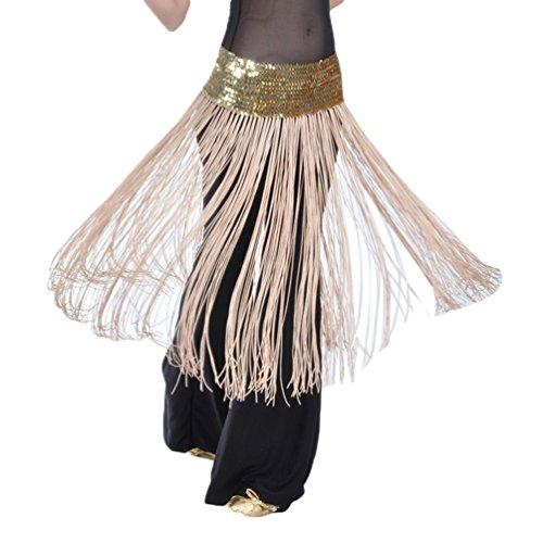 YuanDian Damen Bauchtanz Verpackungs Hüfte Schal Gurt Schal Hüfttuch Elastische Paillette Lange Fransen Orientalischer ägyptischer Arabischer Tanz Kostüm Zusätze Gold Kamel -