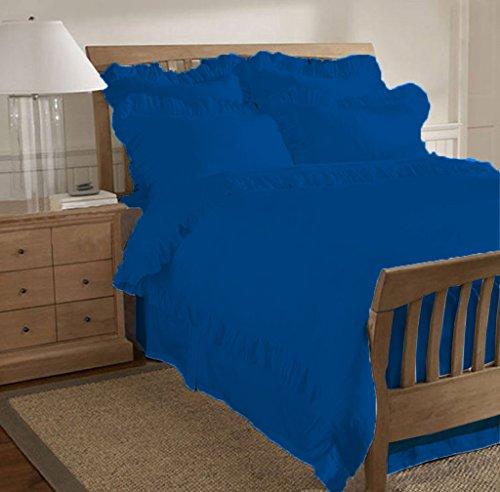 SCALABEDDING 800 TC aus ägyptischer Baumwolle, 5-teilig, Geraffter Saum Bettwäsche Queen Royal Blue (Bettwäsche Queen Blue Royal)