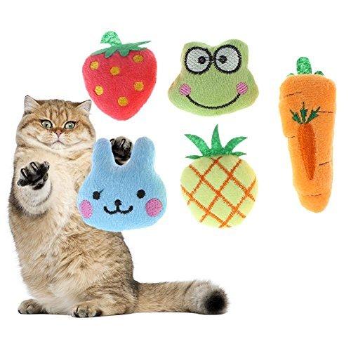broadroot 5x Fruit Animal Serie Soft Plüsch Baumwolle Katze Hund kauen Spielzeug Pet Toys -