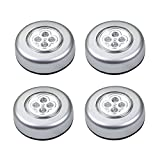 Fancyku 5 Pack 4-LED Push Touch Lamp Mini Round Emergency Light with Stick Tape