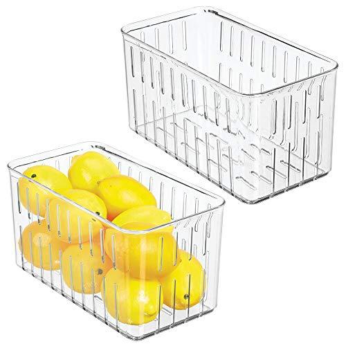 mDesign Juego de 2 cajas plásticas organizadoras - Práctico organizador de despensa sin tapa - Organizador de nevera con ranuras laterales de ventilación - transparente