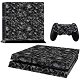 Pandaren® full skin sticker faceplates for PS4 console x 1 and controller x 2 (black skull) [Instruction in image lists]