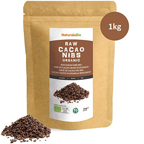 Organic Raw Cacao Nibs 1 kg | 100% Peruvian, Natural and Pure | Made in Peru from The Theobroma Cacao Plant | Superfood Rich in Antioxidants, Minerals and Vitamins | NATURALEBIO