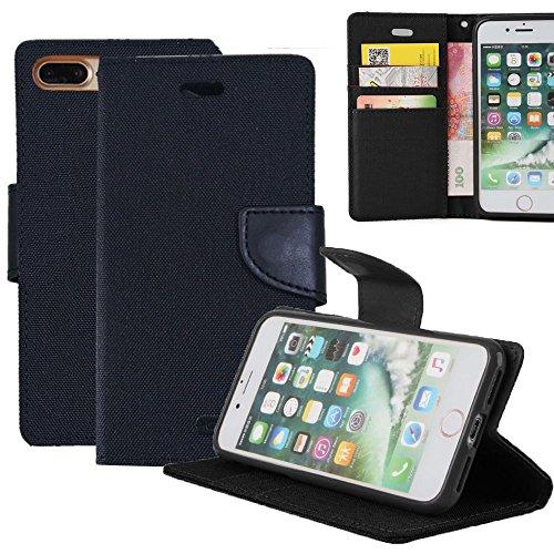 iPhone 8 / 7 Plus Hülle Leinwand Flip cover Schutz [Magnetische Verschluss] REXANG [Brieftasche und Kartenslots] Bookstyle Tasche [mit Stand Funktion] Leder TPU Taschen Schalen für iPhone 7 / 8 Plus (Bankett-tasche)