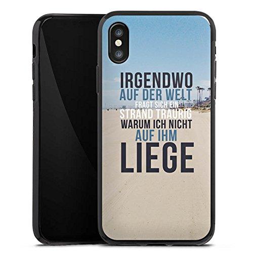 Apple iPhone X Silikon Hülle Case Schutzhülle Strand Sommer Sonne Silikon Case schwarz