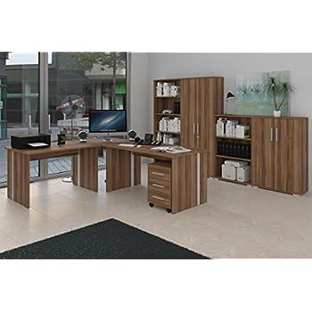 Büromöbel Set - Komplettes Arbeitszimmer in Walnuß Dekor, 8 - teilig ...