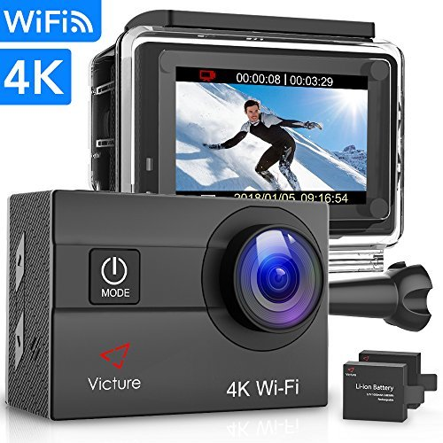 Victure Sportkamera 4K Ultra HD WI-FI 16 MP mit Fernbedienung Kamera Camcorder Wasserdicht 30 m 170 ° Grand-Angle mit 2 LCD 2 Batterien Wiederaufladbar 1050mAh und 18 Zubehör