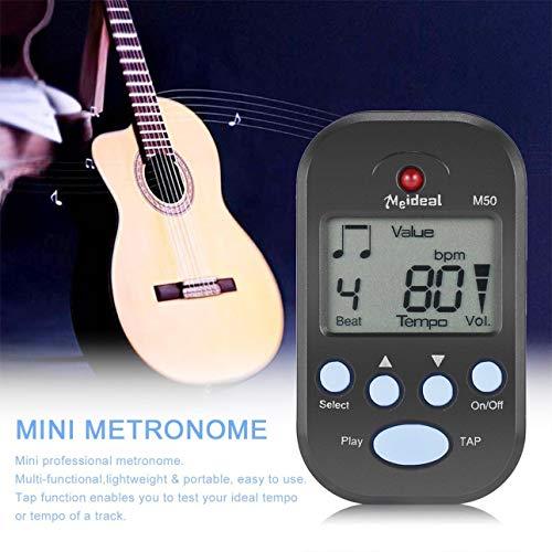 Ballylelly Clip-On Leichtes und tragbares Mini LCD Digital Beat Tempo Metronom mit klarem LCD Bildschirm und Cell Battery Black