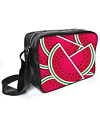Snoogg Watermelon Wedge Background Card In Vector Format Leather Unisex Messenger Bag Material PU