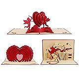 Ccinee Lot Lot de 3cartes de vœux 3d Pop Up Amour Cœur...