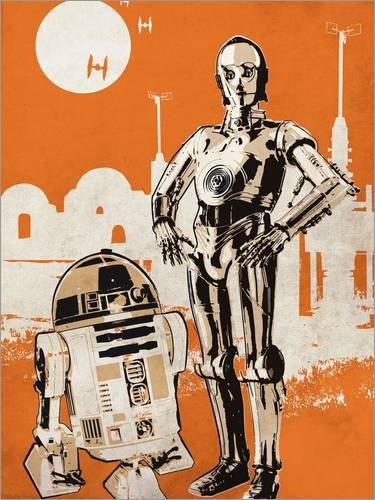 Cuadro sobre lienzo 50 x 70 cm: Vintage star wars movie inspired r2d2 and c3po art de Golden Planet Prints - cuadro terminado, cuadro sobre bastidor, lámina terminada sobre lienzo auténtico, impres...