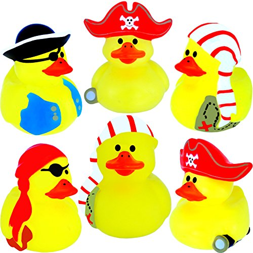 German-Trendseller  - 6 x Ente Pirat ┃ Neu ┃ Party Quietscheenten ┃ Mitgebsel ┃ Kindergeburtstag ┃ Piraten Enten ┃ 6 Stück - Ente Gelbe Badewanne