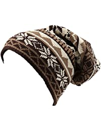 Sakkas Chale Long Tall Classic Winter Pattern Faux Fur Lined Unisex Beanie Hat