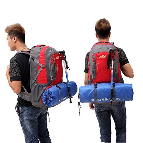 Outdoor Rucksack groß Kapazität 60L OUTDOOR Paket Wasserdichte Reise Sport Bergsteigen Rucksack Rot